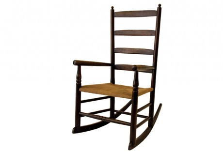 19th c. Ladder-Back Rocking Chair