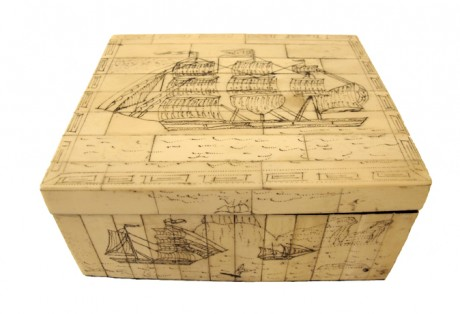 19th c. Sailors Scrimshaw Box